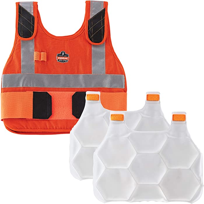 Cooling Vest with 2 Ice Packs, Flame Resistant, Flexible Design, Ergodyne Chill Its 6215