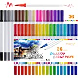 Dual Coloring Markers, Magicfly 36 Colors Dual Brush Pens Watercolor Dual Tip Markers with Fineliner Tip 0.4 and Highlighters Brush Tip(1mm-2mm)