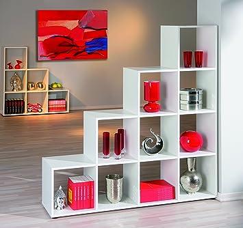 Mueble de separación, diseño de escaleras, color blanco: Amazon.es: Bricolaje y herramientas