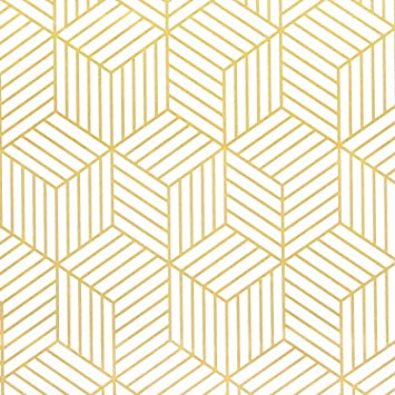 White And Gold Geometry Stripped Hexagon Peel And Stick Wallpaper Gold Stripes Wallpaper White Paper Removable Self Adhesive Vinyl Film Decorative Shelf Drawer Liner Roll 78 7 X17 7 Amazon Com
