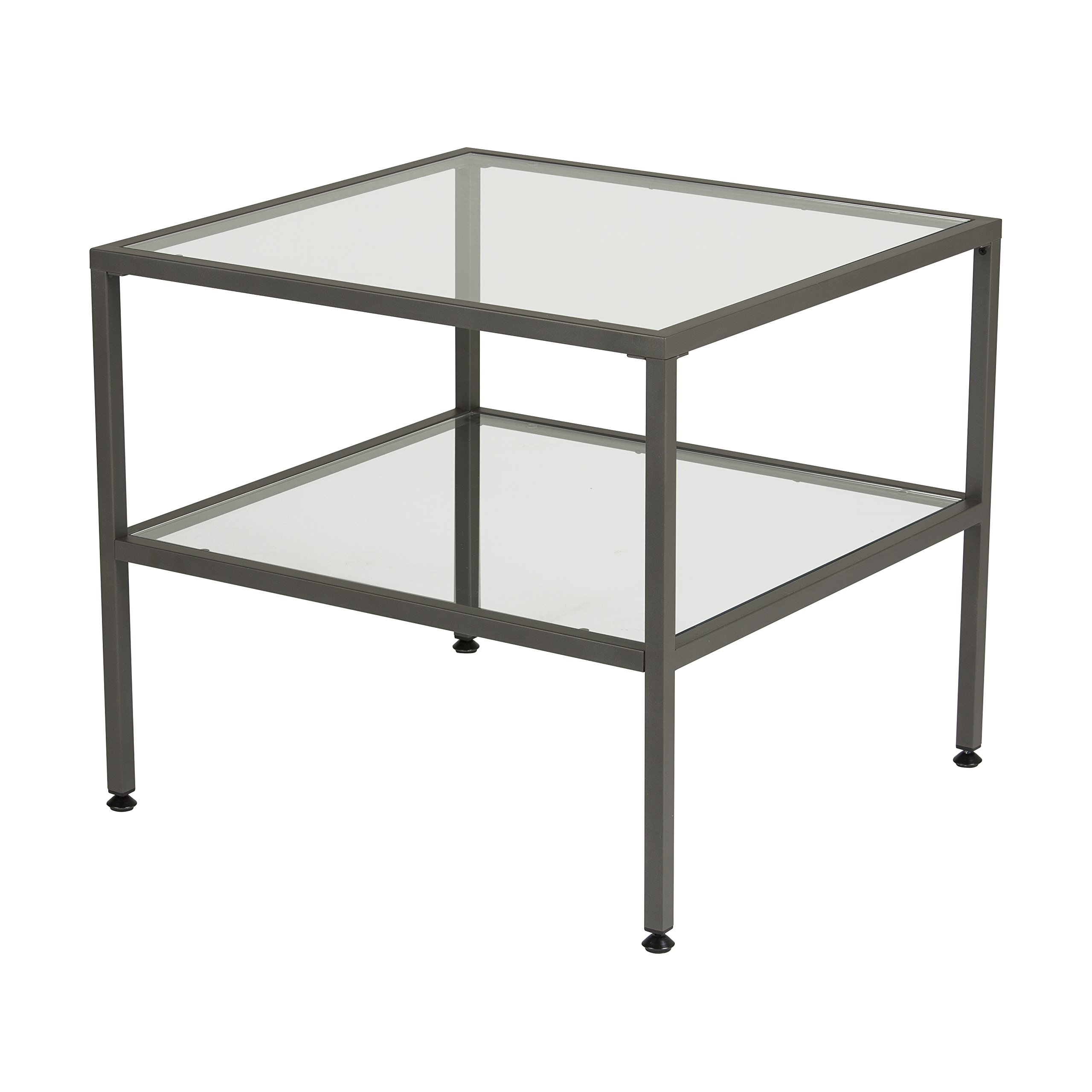 Studio Designs Home 71002.0 Camber One Shelf End Table In Pewter With Clear Glass