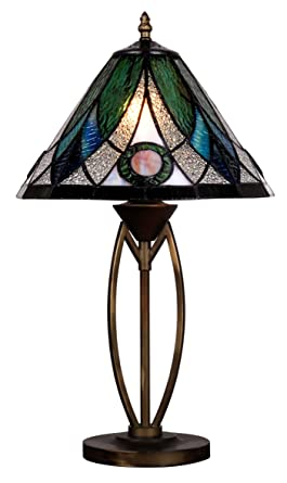 Tiffany Style Stained Glass Table Lamp Decorative Blue Green White