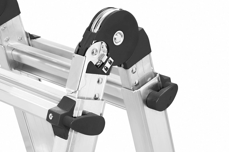 Anlege-//Schiebe-//Bockleiter in einem Hailo M80 Alu-Multifunktionsleiter 7520-701 4x5 Sprossen H/öhe einstellbar belastbar bis 150 kg