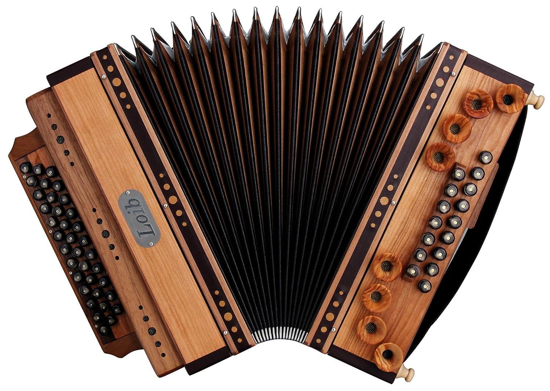 Loib Harmonika IVD Kirsche/Nuss G-C-F-B (46 Diskant, 9 Helikon Bässe, Leder, Holz) natur 9 Helikon Bässe IVD-Kirsch-G-C