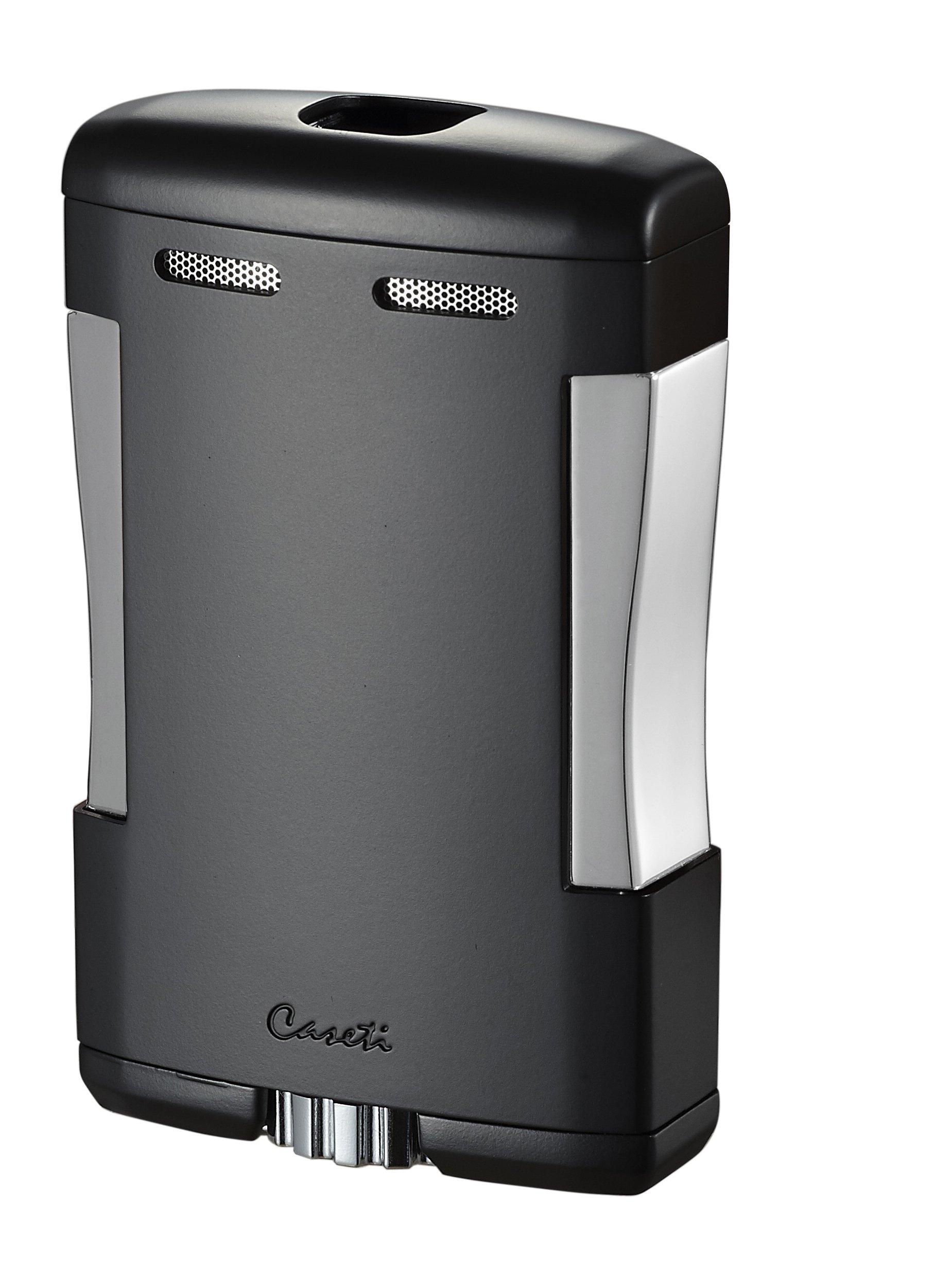 Visol Products Caseti Sparta Triple Jet Flame Cigar Table Lighter, Black Matte