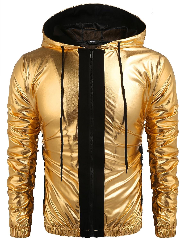 DAZZILYN Mens Metallic Nightclub Style Hooded Varsity Baseball Bomber Jacket Golden& Silver& Blue& Black& Red& Cofee