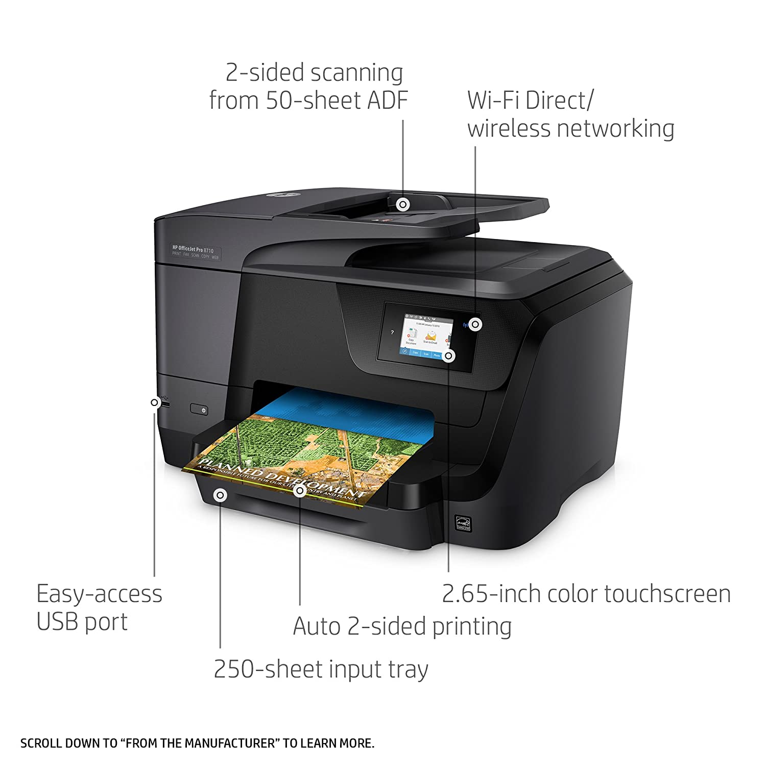 Amazon HP M9L66A Office Jet Pro 8710 All In One Printer Copy Fax Print Scan Electronics