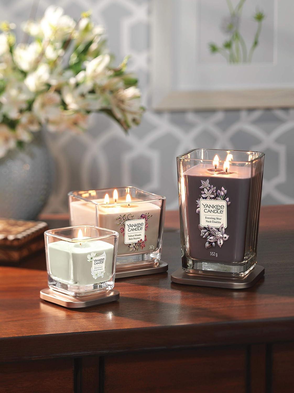 Yankee Candle grande bougie parfum/ée carr/ée /à deux m/èches et couvercle collection /Él/évation senteur Bois soyeux