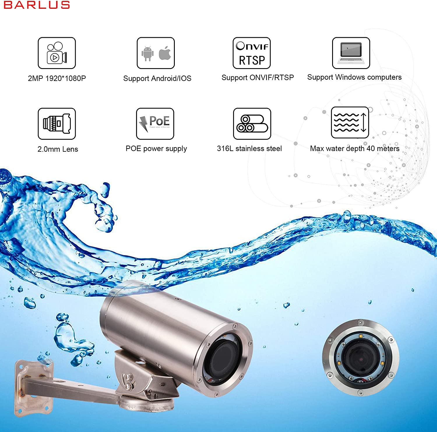1080P Waterproof Underwater video Camera Fishing POE Lens 2.0mm with 5M Cable