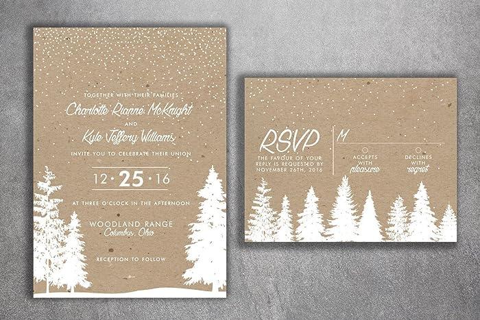 amazon com winter wedding invitations snow wedding invitation