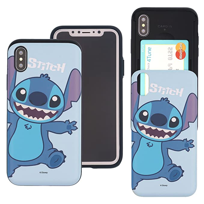 newest 1853c 7a69c iPhone Xs Max Case Cute Slim Slider Cover : Card Slot Dual Layer Holder  Bumper for [ iPhone Xs Max (6.5inch) ] - Stitch Smile
