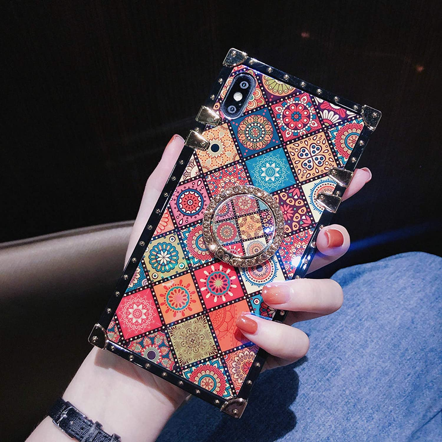 Retro Square Blue Ray Phone Case Compatible with iPhone 12 Pro Max with Holder Ring Indian Hippie Bohemian Psychedelic Peacock Mandala Protective Shockproof Cover -Pattern2