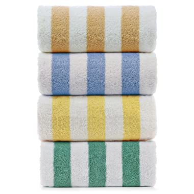 Large Turkish Beach Towel, Pool Towel with Cabana Stripe, Eco Friendly, 100% Turkish Cotton (30x60 inches) by Turkuoise Towel (4, Multi)
