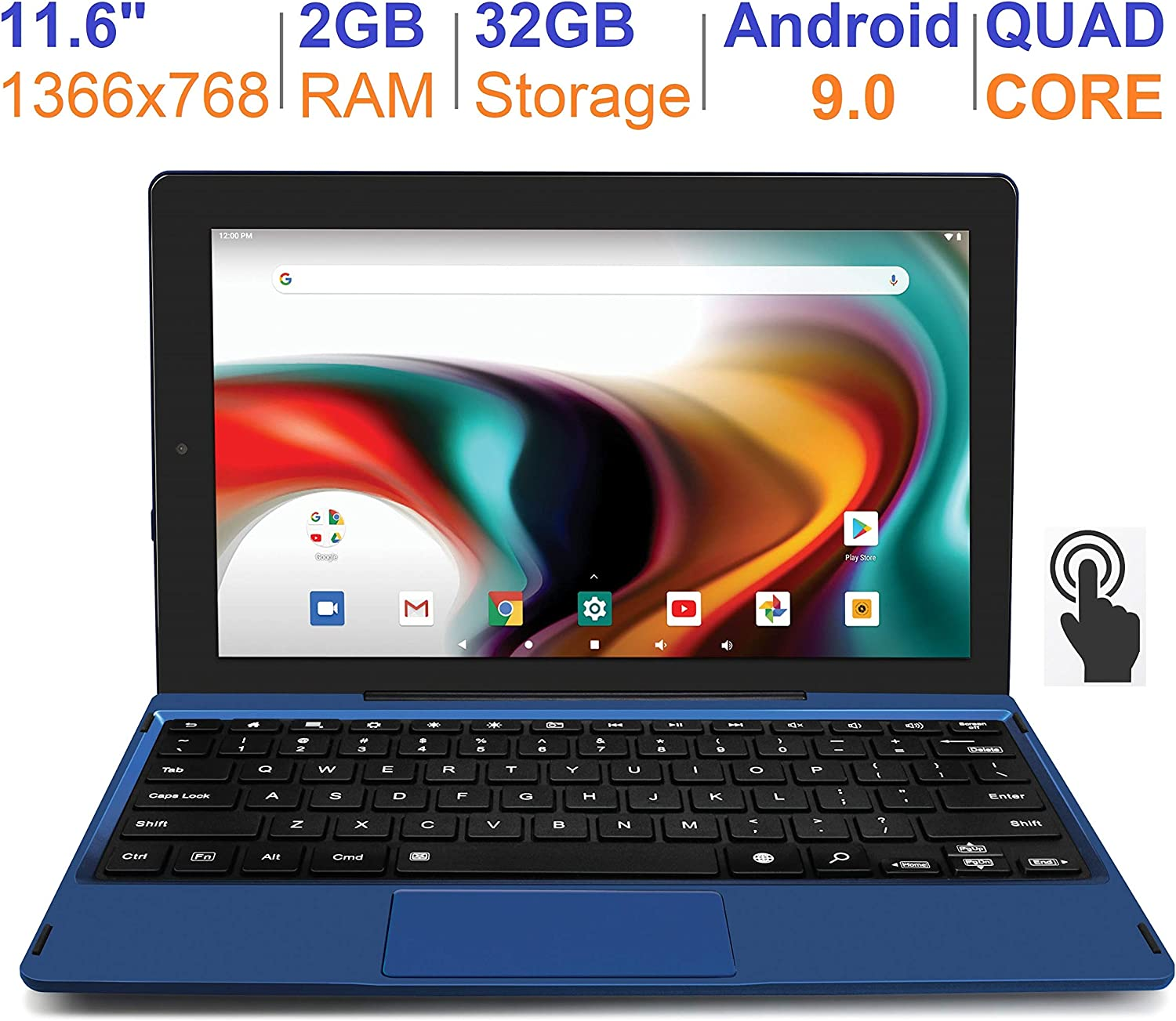 "RCA 11 Delta Pro 11.6 Inch Quad-Core 2GB RAM 32GB Storage IPS 1366 x 768 Touchscreen WiFi Bluetooth with Detachable Keyboard Android 9.0 Tablet (11.6"", Blue)"