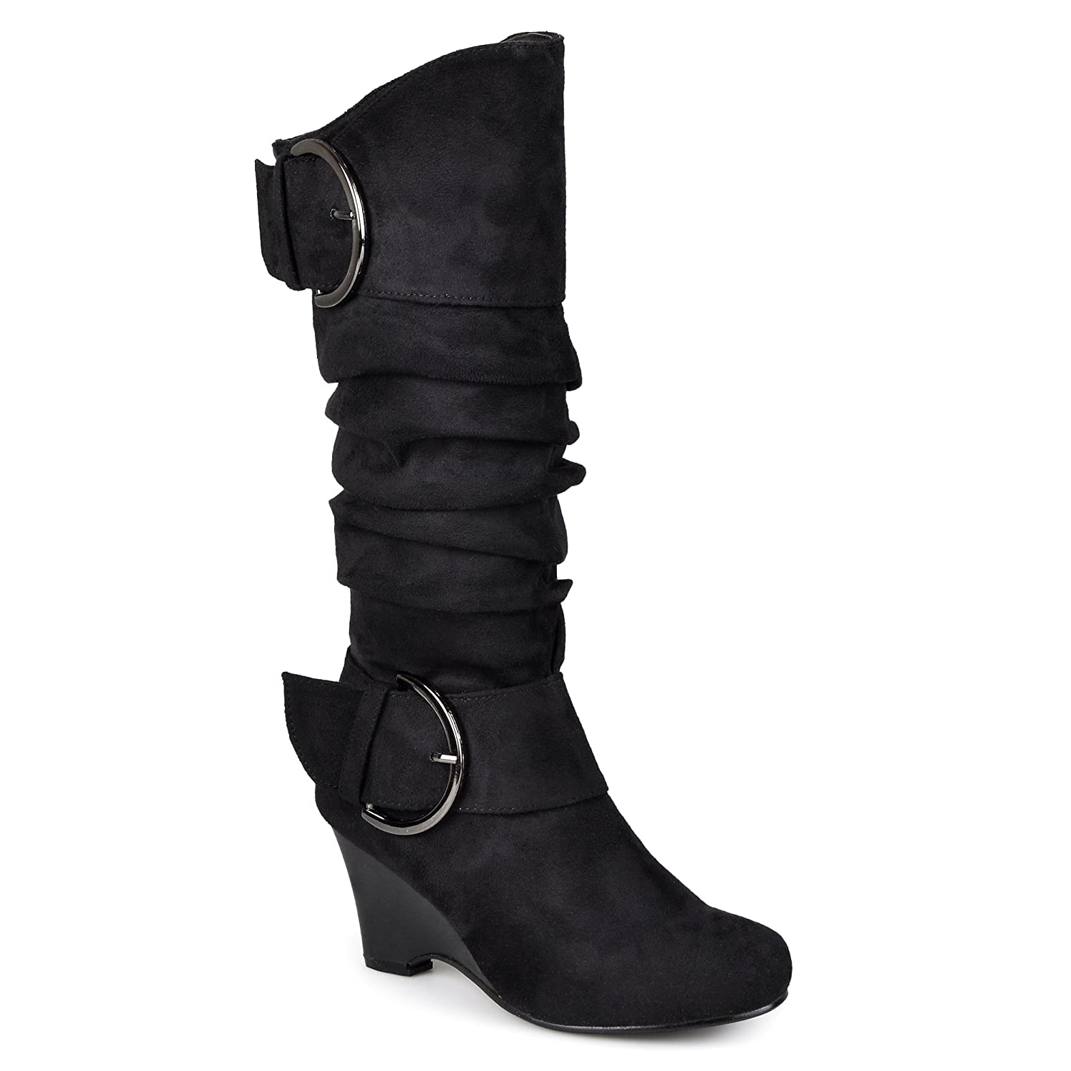 ef9112e9bd7 Amazon.com | Journee Collection Womens Regular Sized and Wide-Calf Buckle Slouch  Wedge Knee-High Boot | Knee-High