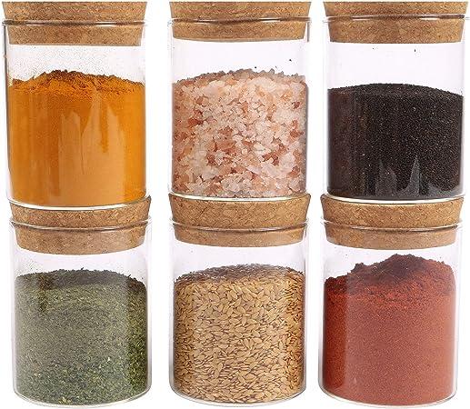 spezie semi 150 piccolo contenitore trasparente per la cucina ORNAMI Piccolo barattolo in vetro per alimenti con coperchio in sughero e chiusura ermetica pepe sale per cereali