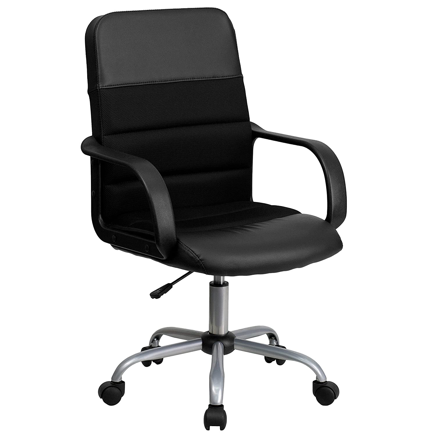 Black Flash Furniture Mid-Back Black Leather and Mesh Swivel Task Chair with Arms