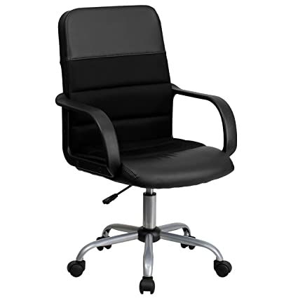 Flash Furniture Mid Back Black Leather And Mesh Swivel Task Chair With Arms