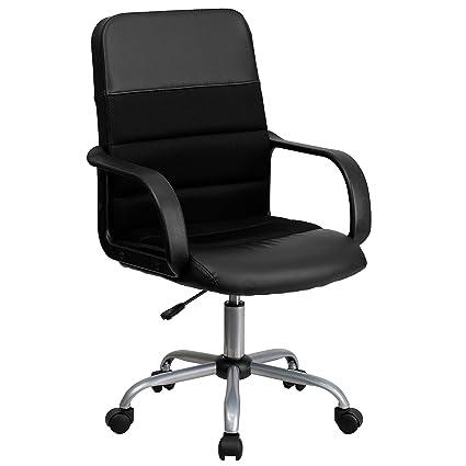 amazon com flash furniture mid back black leather and mesh swivel