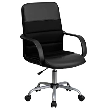 Flash Furniture Mid Back Black Leather and Mesh Swivel Task Chair with ArmsAmazon com  Flash Furniture Mid Back Black Leather and Mesh Swivel  . Flash Furniture Mid Back Office Chair Black Leather. Home Design Ideas