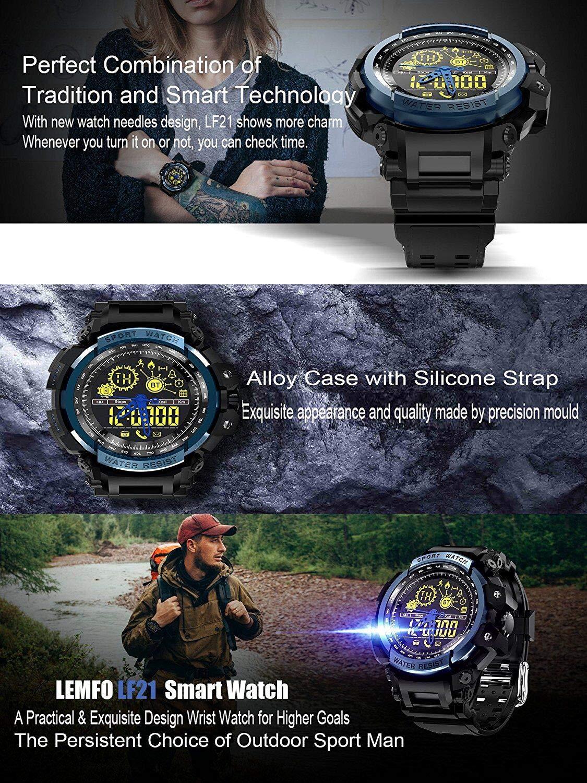 Amazon.com: LEMFO LF21 NO1 Mens military Sports Wrist Watch, Heavy Duty Design, Stopwatch, EL Backlight 5ATM Waterproof + Energy, Distance Track for ...