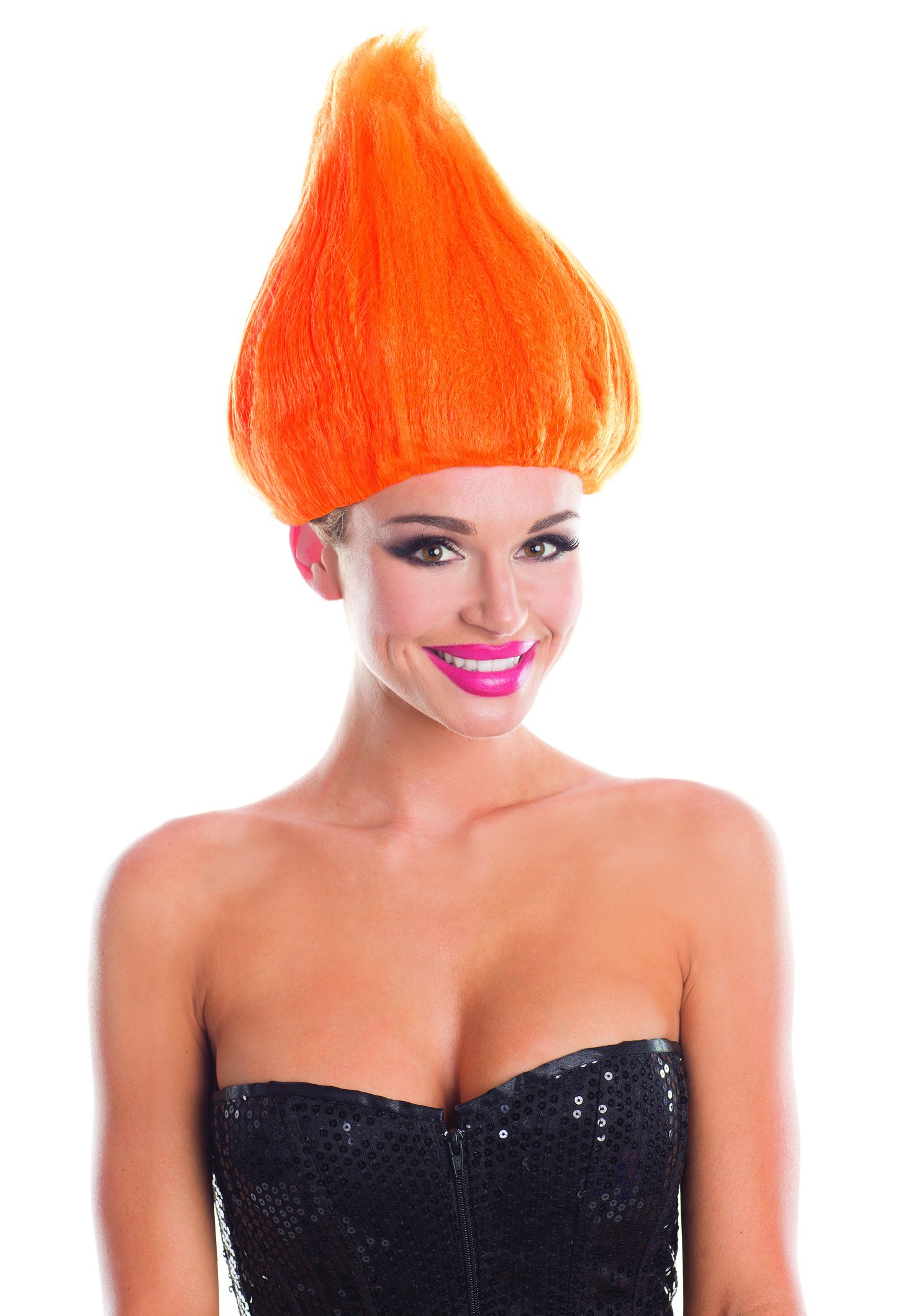 Be Wicked Solid Color Troll Wig (Orange;One Size)