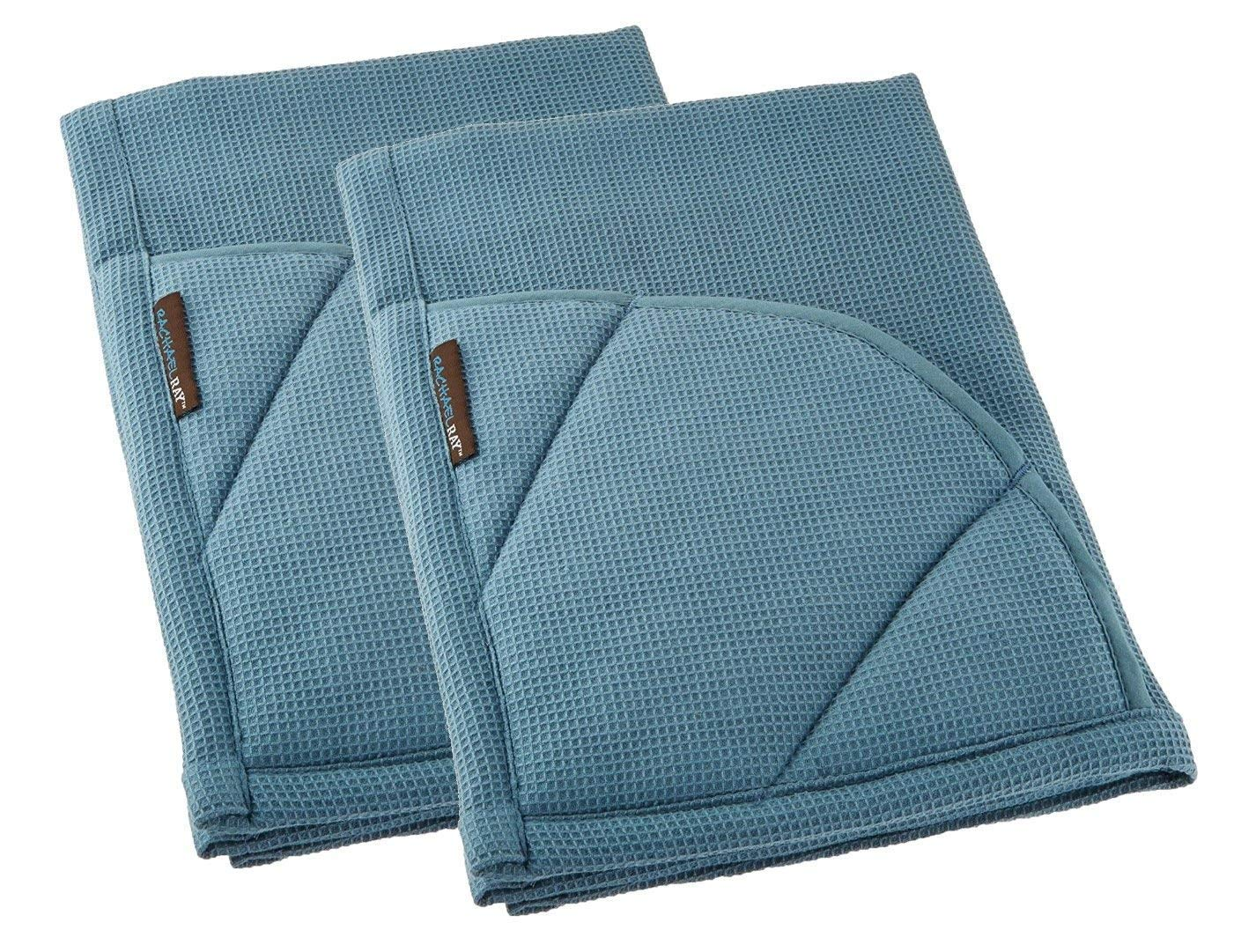 Rachael Ray Kitchen Towel and Oven Glove Moppine – A 2-in-1 Ultra Absorbent Kitchen Towel with Heat Resistant Pot-Holder Padded Pockets to Handle Hot Cookware and Bakeware - Smoke Blue/Pack of 2