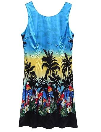 Halife Womens O-Neck Boho Print Shift Beach Dress Blue,S