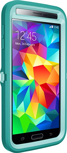 new product 1d716 c5532 Otterbox Defender Series for Samsung Galaxy S5 - Frustration Free Packaging  - Aqua Sky (Aqua Blue/Light Teal)