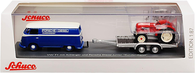 Schuco Volkwagen T1 Kasten Blau Transporter Samba Bully Bus 1950-1967 mit Anh/änger Porsche Diesel Junior Traktor H0 1//87 Modell Auto mit individiuellem Wunschkennzeichen
