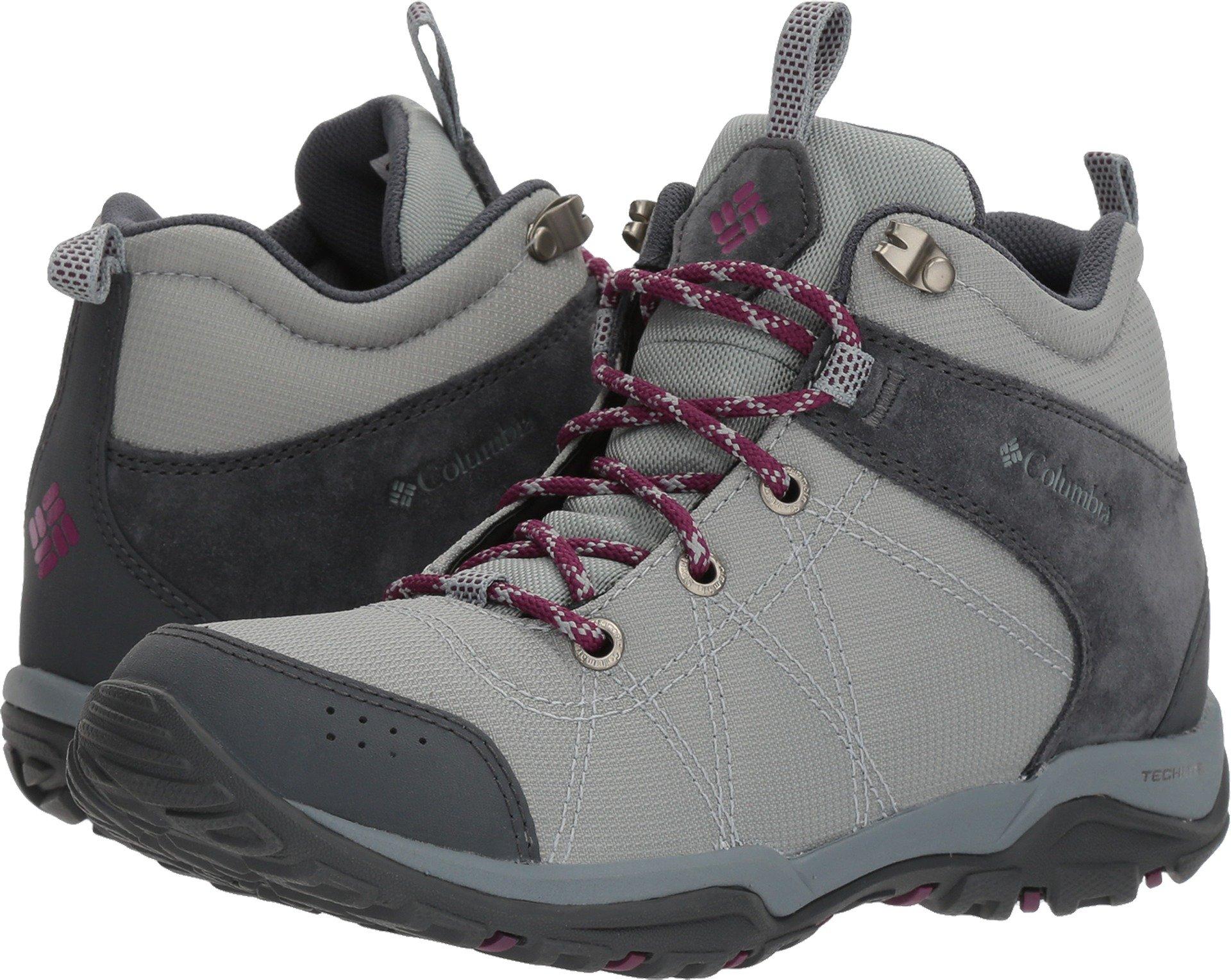 Columbia Women's Fire Venture Mid Textile Hiking Boot, Earl Grey, Dark Raspberry, 9.5 Regular US