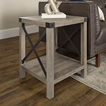 WE Furniture Rustic Modern Farmhouse Metal and Wood Square Side Accent  Living Room Small End Table, 18 Inch, Grey Wash