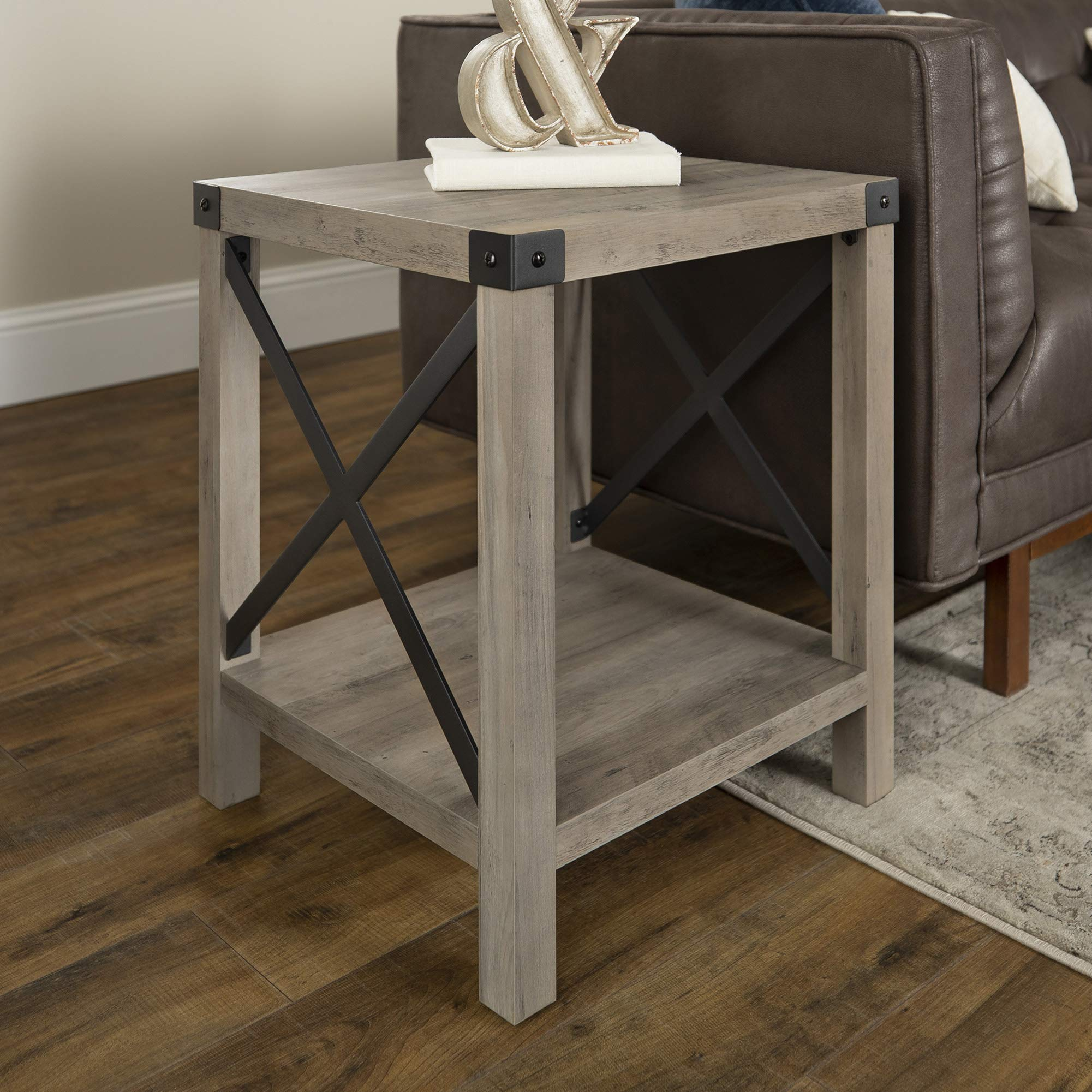 WE Furniture Rustic Modern Farmhouse Square Side End Accent Table Living Room, 18 Inch, Grey by WE Furniture