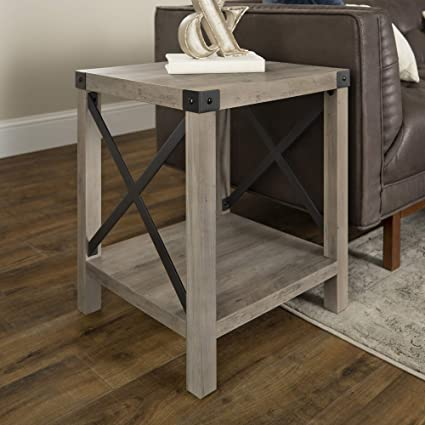WE Furniture Rustic Modern Farmhouse Square Side End Accent Table Living  Room, 18 Inch, Grey