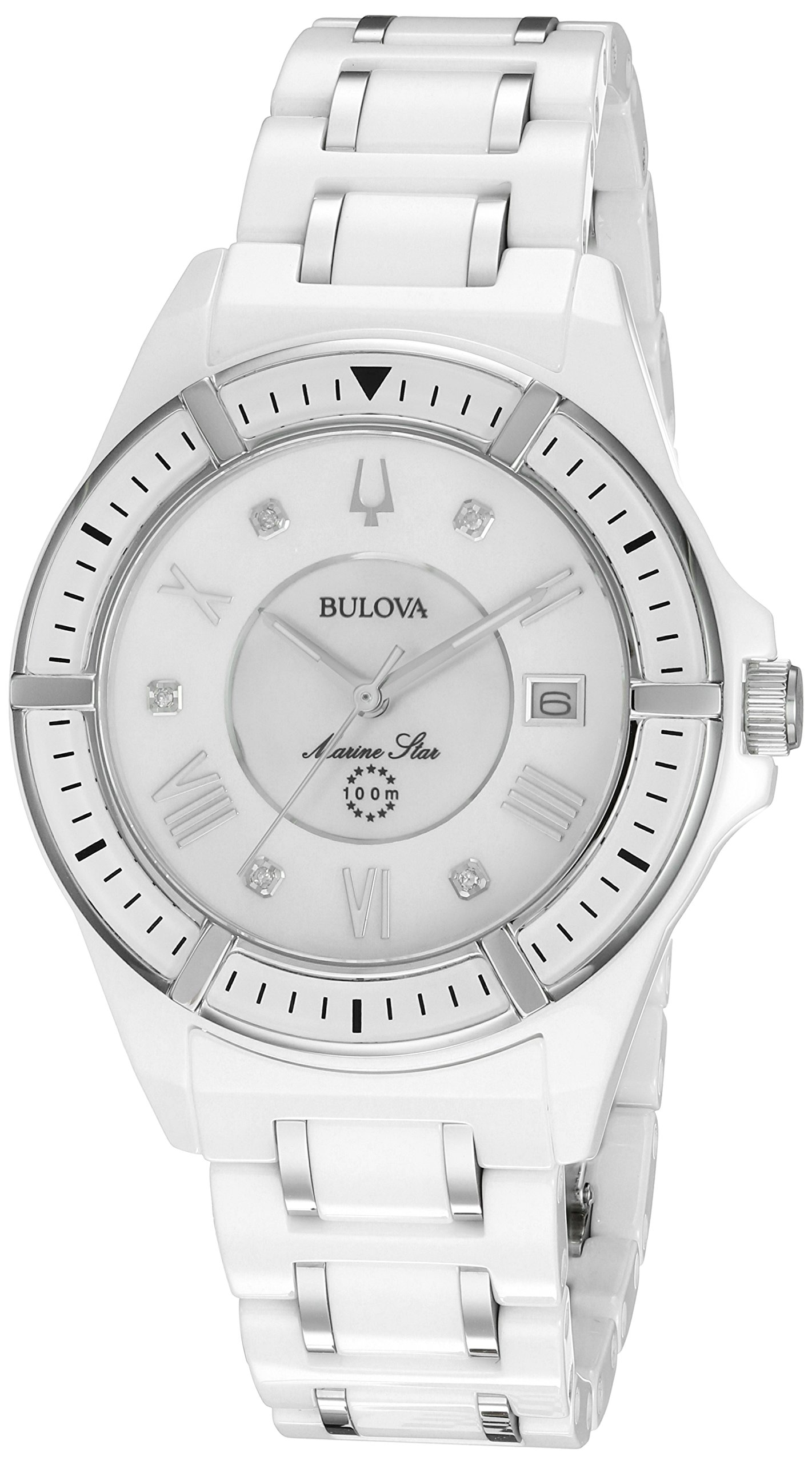 Bulova Women's 'Marine Star' Quartz Ceramic Casual Watch, Color:White (Model: 98P172)