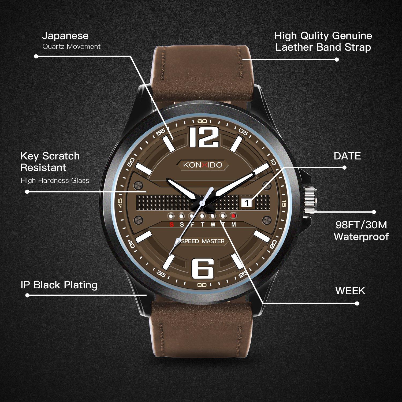 KONXIDO Men's Business Quartz Watch, Casual Fashion Analog Wrist watch Classic Date and Week Window, Waterproof 30M Water Resistant Comfortable Genuine Leather Strap Watches Coffee by KONXIDO (Image #5)