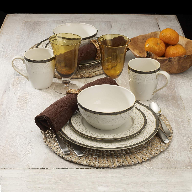 Pfaltzgraff 5217018 Promenade Scrool 16-Piece Dinnerware Set Service for 4