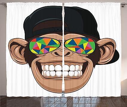 Cartoon decoración cortinas por Ambesonne, divertido Hipster ...