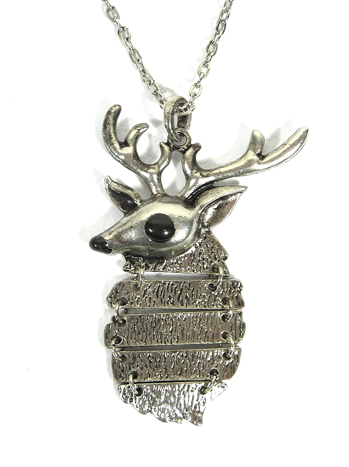 Magic Metal Deer Buck Necklace Antler Skull Silver Tone NB00 Vintage Taxidermy Charm Pendant Fashion Jewelry