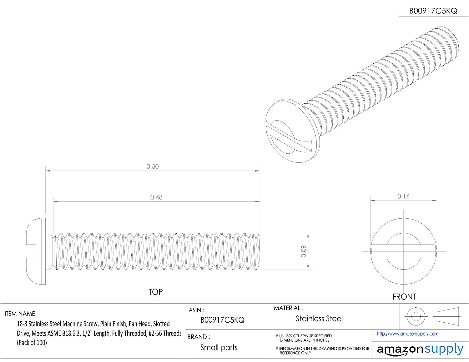 3//8 Length Fully Threaded 3//8 Length Small Parts Slotted Drive 18-8 Stainless Steel Machine Screw #0-80 Threads Pan Head Meets ASME B18.6.3 Pack of 100 Plain Finish