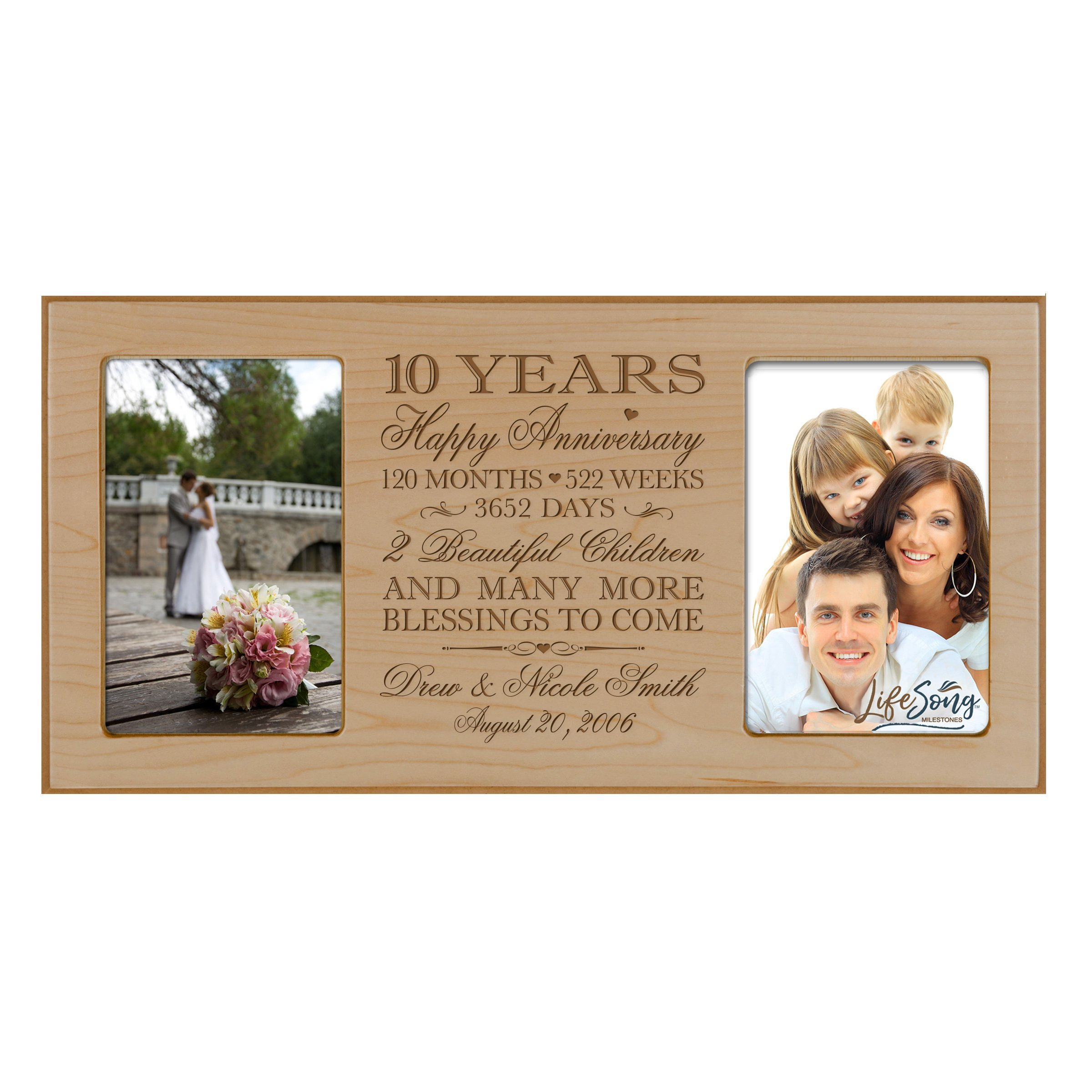 LifeSong Milestones Personalized Ten Year her him Couple Custom Engraved Wedding Celebration for Husband Wife Girlfriend Boyfriend Photo Frame Holds Two 4x6 Photos (Maple)