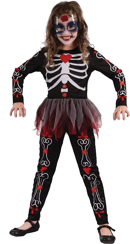 Generique - Disfraz de Esqueleto de Flores niña 7-9 años (122/134 ...