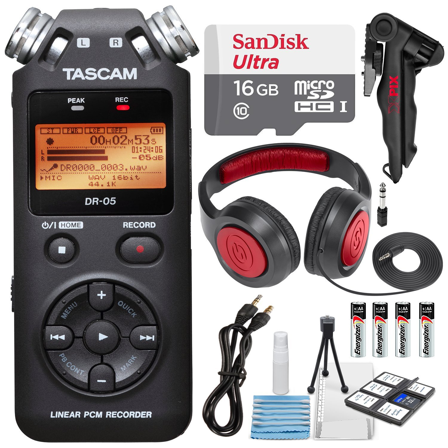 Tascam DR-05 (Version 2) Portable Handheld Digital Audio Recorder (Black) with Deluxe accessory bundle by Tascam