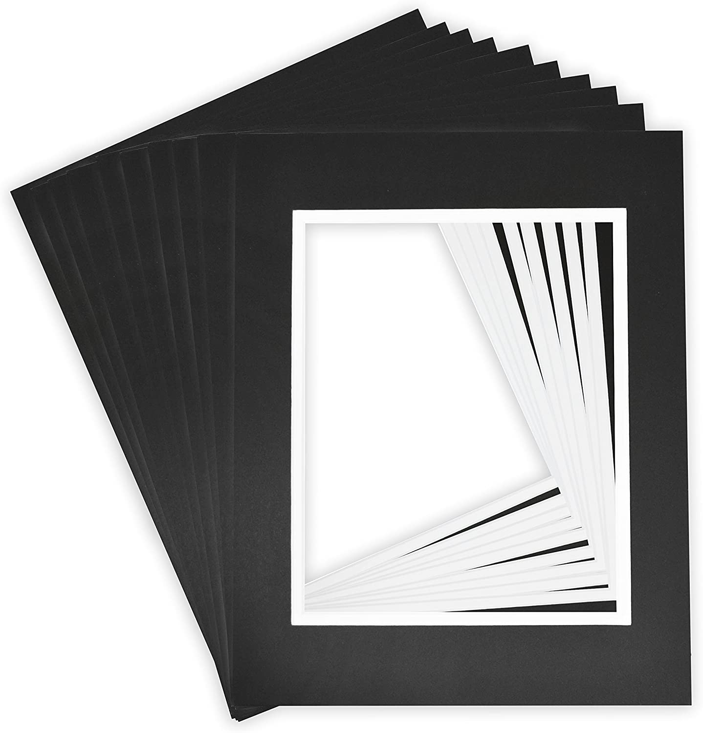 Bags Golden State Art Pack of 10 11X14 Double Picture Mats with White Core Bevel Cut for 8X10 Pictures Backing Black Over Black