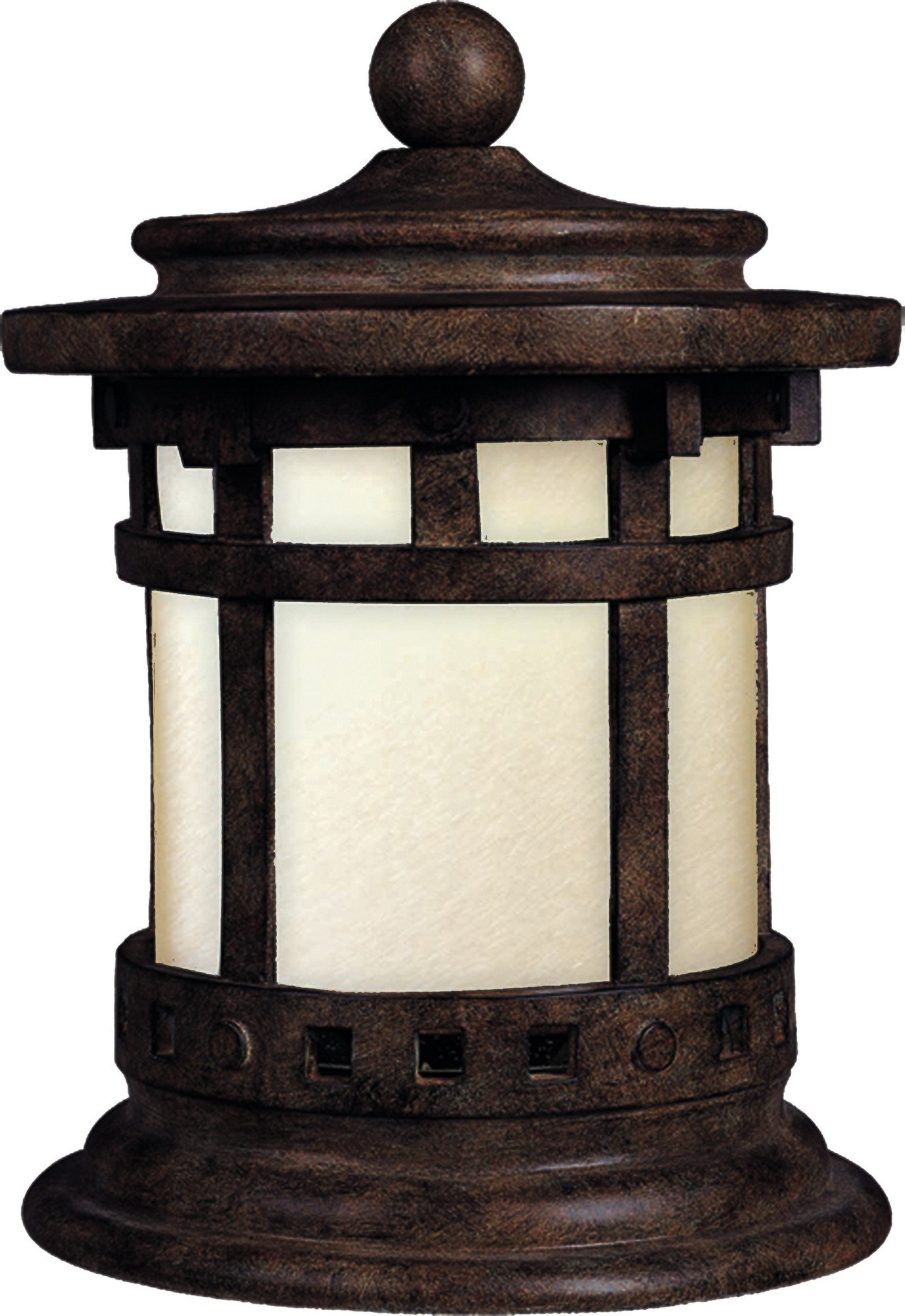 Maxim 85032MOSE Santa Barbara EE 1-Light Outdoor Deck Lantern, Sienna Finish, Mocha Glass, GU24 Fluorescent Fluorescent Bulb , 60W Max., Dry Safety Rating, Standard Dimmable, Glass Shade Material, 1344 Rated Lumens