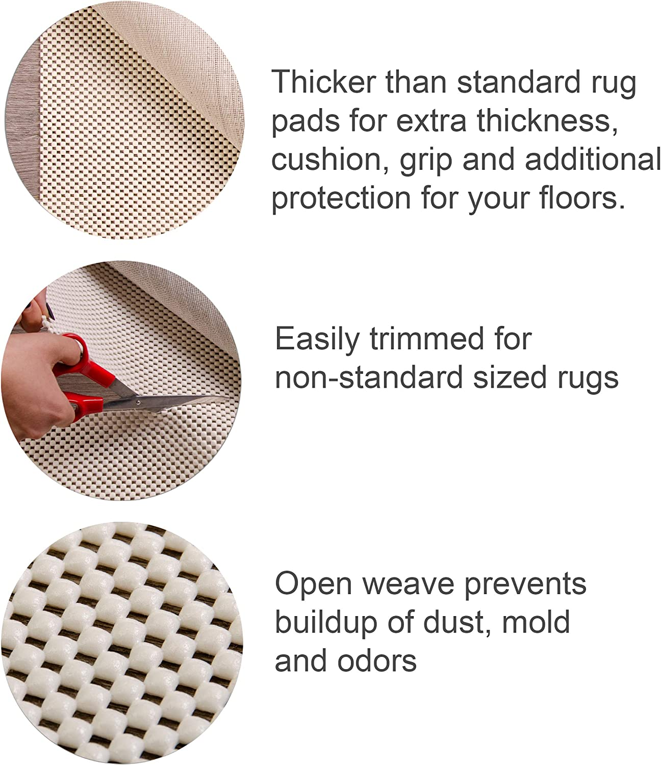 Supreme Quality Rug Pad Non Slip Rug Pad for Rugs on Hard Surfaces 4 X 6 ft