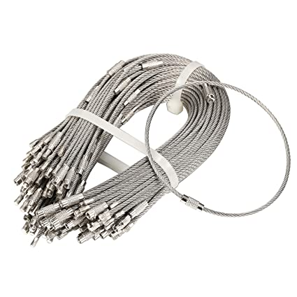 Bayite Pack (100) Llaveros de acero inoxidable con cable de ...