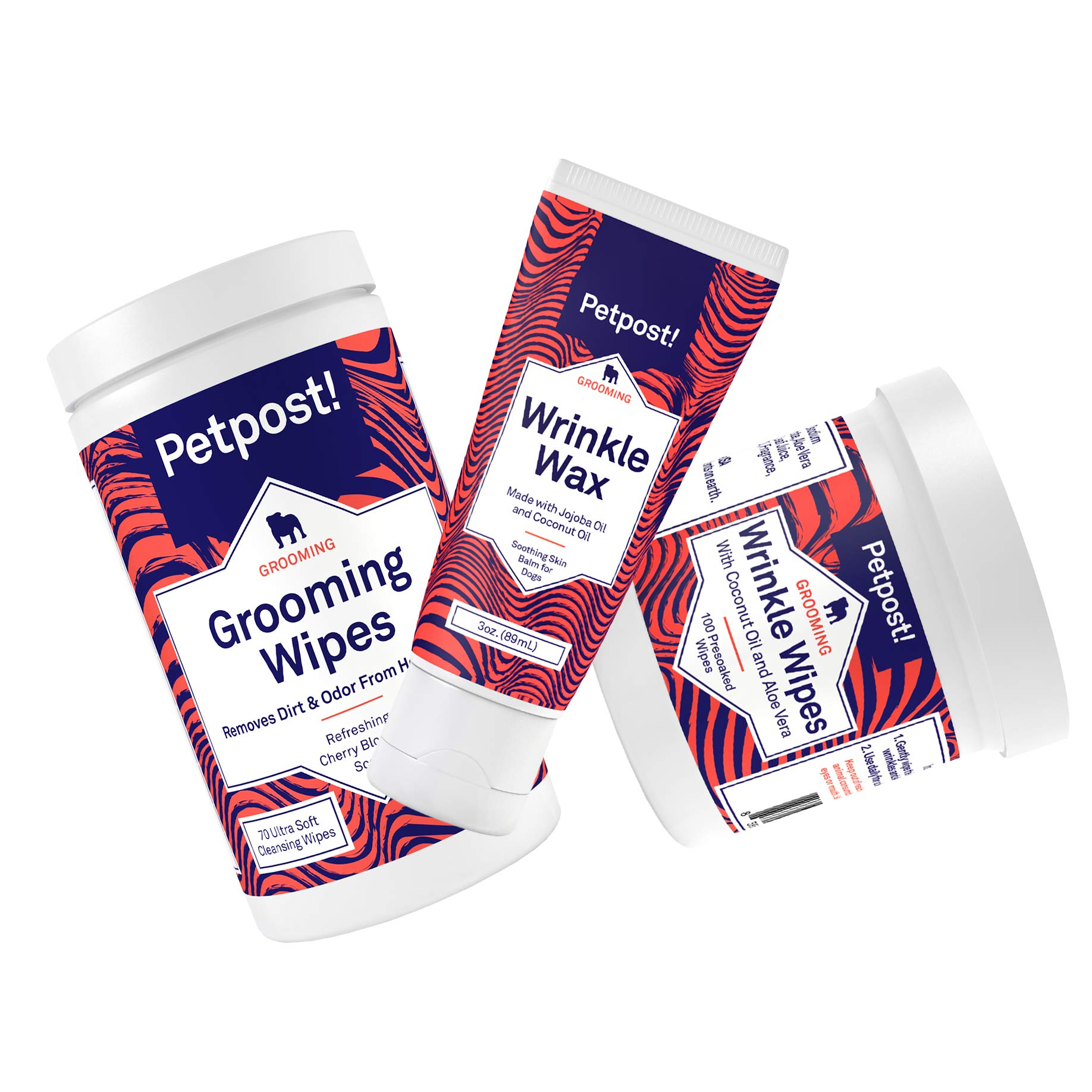 Petpost | Ultimate Bulldog Wrinkle Care Kit with Grooming Wipes - Natural Wrinkle Wax and Wipes Protect Dog Wrinkles and Folds - Soothing Avocado, Jojoba Paste, and Coconut Oil Formulas