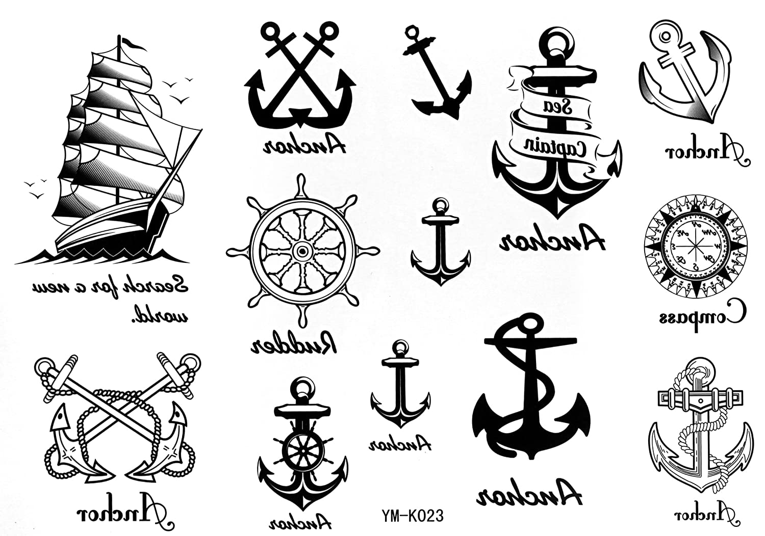 Sailor Temporary Tattoos Waterproof Tattoo Sticker Anchor Nautical Tattoo Stickers