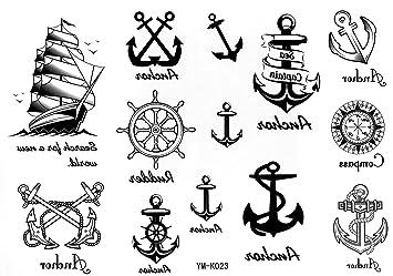 2cde30980c7ab Sailor Temporary Tattoos Waterproof Tattoo Sticker Anchor Nautical Tattoo  Stickers